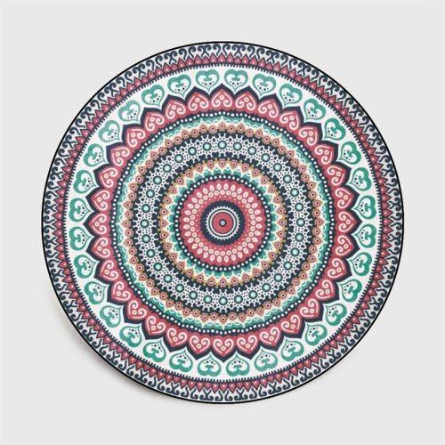 Round Carpet Ethnic Style Mandala Flower Printed Soft Carpets For Living Room Anti-slip Rug Chair Floor Mat Bedroom Decor Carpet