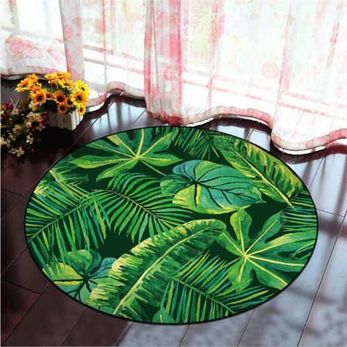 Round Carpet Green Plant Leaves Printed Soft Carpets Anti-slip Rugs Sea Wave Computer Chair Floor Mat for Home Decor Kids Room
