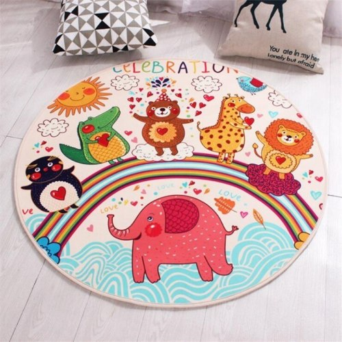 Cute Cartoon Animals Star Printed Round Carpet Soft Carpets For Living Room Anti-slip Rug Floor Mat For Home Decor Kids Room