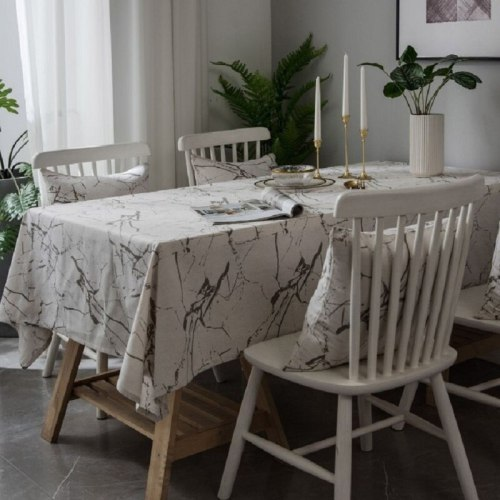 Marble pattern modern minimalist printing tablecloth cover cotton linen dustproof cabinet cloth restaurant decoration