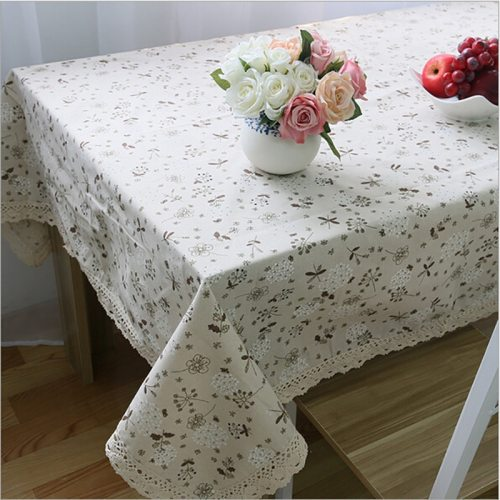 Pastoral Style Cotton Linen Table Cloth Dandelion Printed Rectangle Table Cover Tablecloth with Lace Edge High Quality
