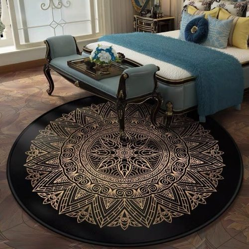 Retro Black And Gold Flowers Round Carpet Lotus Chair Floor Mat Soft Carpets For Living Room Anti-slip Rug Bedroom Decor Carpet