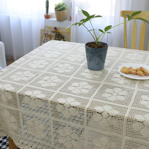 Cotton Knitted Lace Tablecloth Crocheted Floral Hollow Table Cloth Party Wedding Table Decor