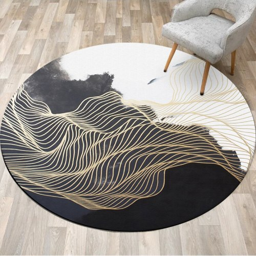 Chinese Style Abstract Ink Painting Round Carpet Chair Floor Mat Soft Carpets For Living Room Anti-slip Rug Bedroom Decor Carpet