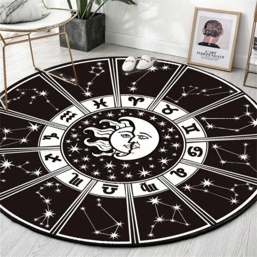 Round Carpet Constellation Astrolabe Printed Soft Carpets for Living Room Anti-slip Rug Chair Floor Mat for Home Decor Kids Room