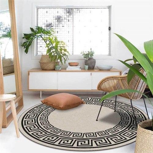 Retro Chinese Pattern Round Carpet Tapis Floor Mat Soft Carpets For Living Room Chair Anti-slip Rug Bedroom Decor Carpet