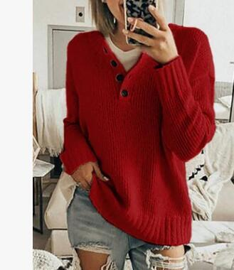 Casual Solid Color Lapel Half-button Sweater