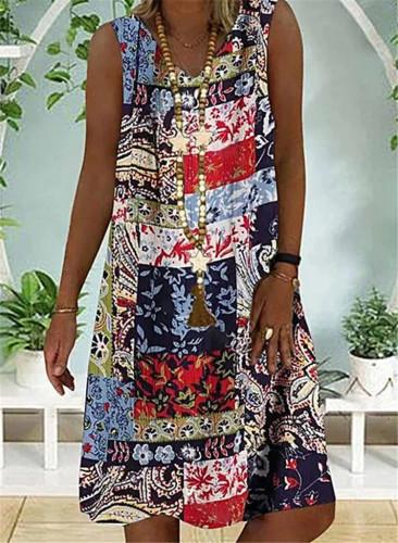 Women Beach Dress Loose Casual Pluse Size Short sleeve cotton Linen Print Summer Dresses