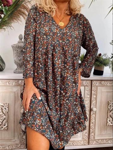 Short Sleeve Summer Dress Women Casual V Neck Loose Party Dress