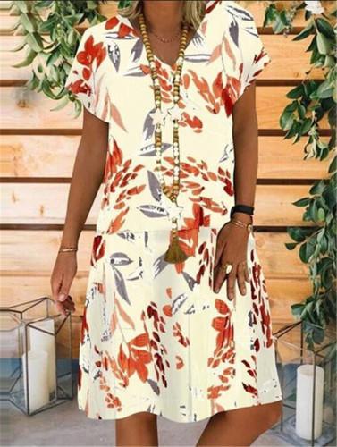 Vintage Cotton Linen Party Short Dress Women Casual Short Sleeve Floral Printed Bohemian Sundress