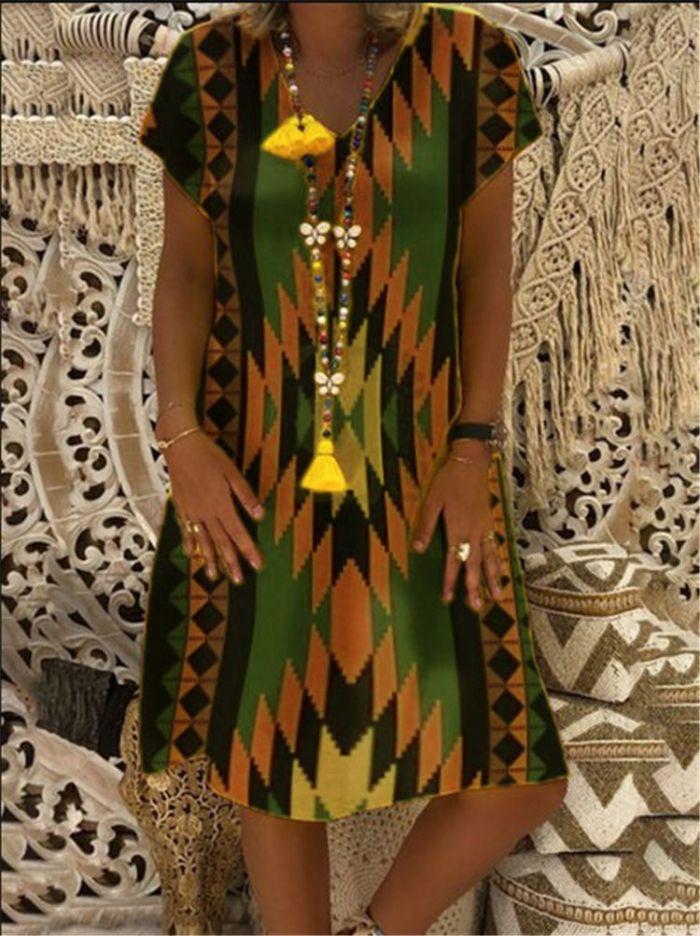 Women Floral Print V-Neck Short Sleeve Dress Vintage Summer Dress