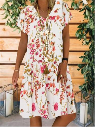 Linen Cotton Plus Size Loose V-neck Floral Print Short Sleeve Midi Dress