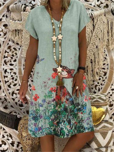 Fashion Casual Dress Loose Large Size Short Sleeve Print Dress Ladies New  Summer Dress  Party Dress  Knee-Length  Dresses