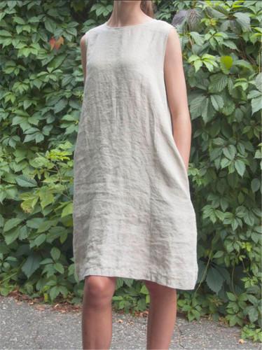 Loose Sleeveless Crew Neck Pocket Linen Cotton Solid Color Summer Dresses
