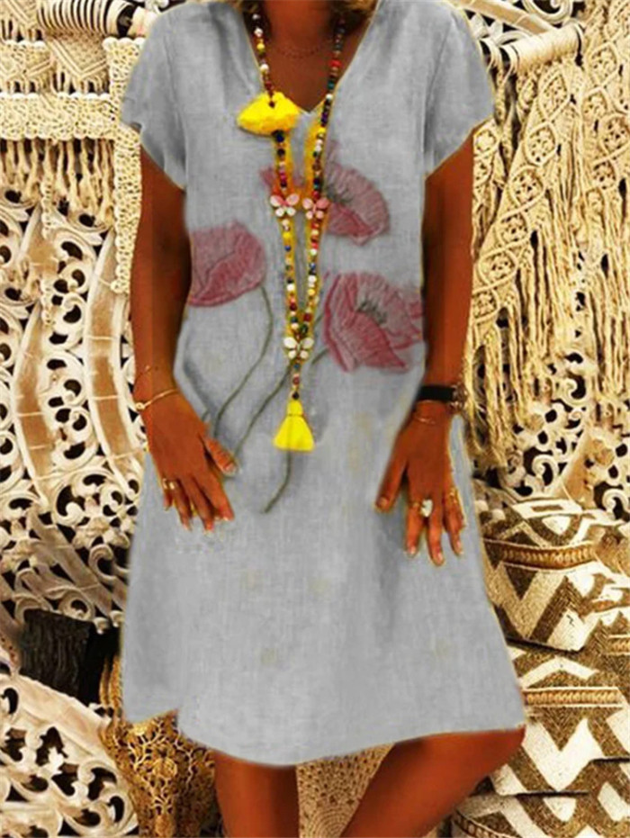 Women V-Neck Short Sleeve Printed Summer Dress Bohemian Dress