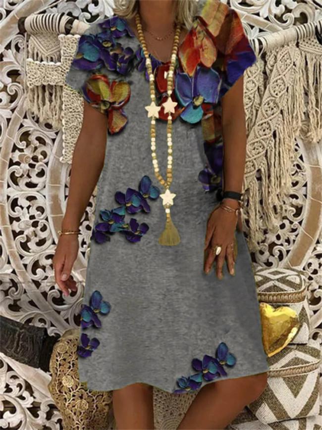 Plus Size Cotton Linen Dress Women Summer Floral Print Short Sleeve Party Dress