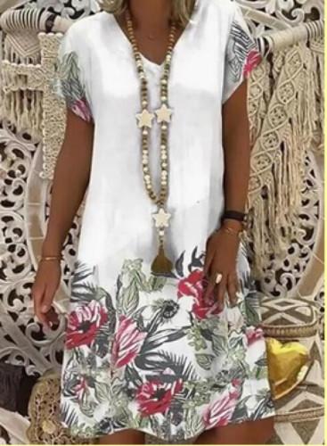 Linen Cotton Plus Size Embroidered Dresses Women Short Sleeves V-neck Casual Short Dress