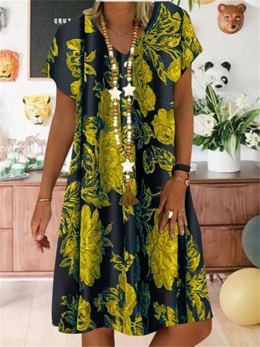 Linen Cotton Casual Floral Printed V-neck Short Sleeve Midi Dress