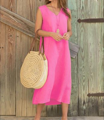 V-neck Sleeveless Cotton & Linen Mid-length Beach Dresses