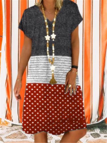 Linen Loose V neck sleeveless patchwork printed dresses plus size Dress