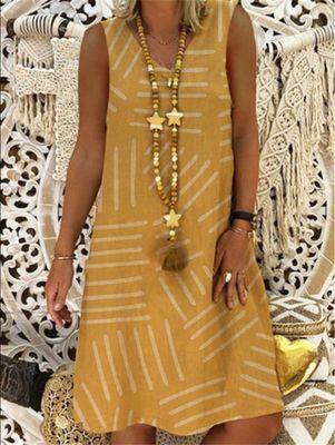 Women plus size dress Summer Vintage Loose Dress V-neck Print Short Sleeve Knee Midi Dress