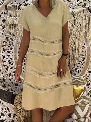 Cotton Linen Dress Casual Plus Size V-neck Short Sleeve Print Dress