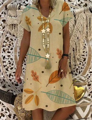 Cotton Linen Short Sleeve Dress Casual Women Dress Plus Size Floral Printed Dresses V-neck Loose Dresses Mini Dress