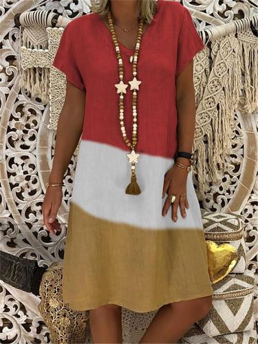 Vintage V-neck Striped Dots Print Party Dress Short Sleeve Dress Elegant Plus Size Patchwork Casual Dresses