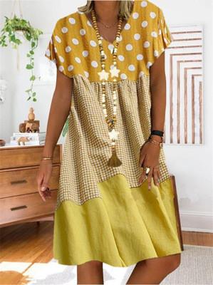 Women Boho Loose Dress Plus Size Dresses Point Print Summer Style Cotton Casual Dresses