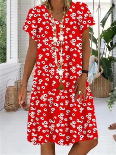 Cotton Linen Women Dress Casual Plus Size Dress Floral Printed V-neck Short Sleeve Dress