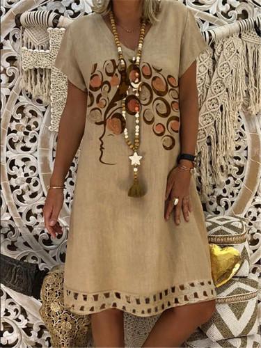 Linen Casual Dress Women Plus Size Summer Cute Hair Print Short Sleeve Loose Party Dresses