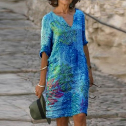 Vintage Floral Print Dresses Casual Women Holiday Plus Size Dress V-neck Sleeveless Linen Dress Beach Elegant Dress