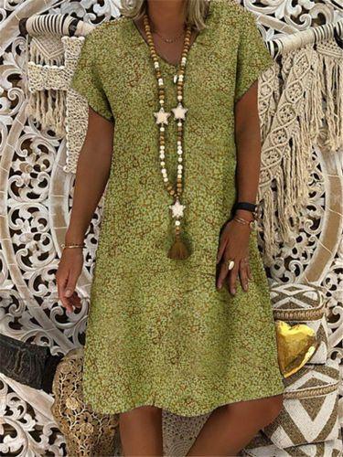S-5XL Plus Size Dress Summer Women Vintage Floral Short Sleeve Midi Dress Loose Beach Casual Dresses