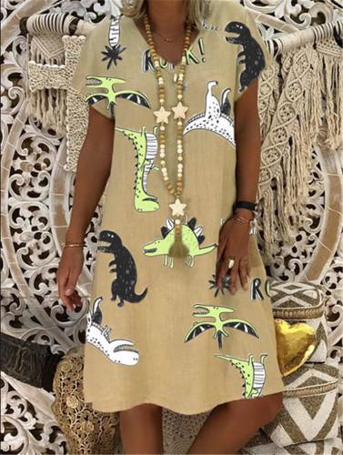 S-5XL Plus Size Dress Summer Women Animal Printed fashion Short Sleeve Midi Dress