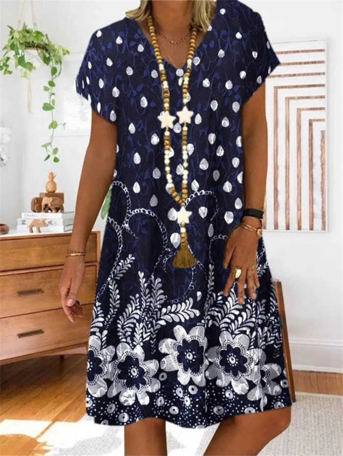 Women Vintage Casual Summer Floral Print V-Neck Short Sleeve Dress Mini Dress