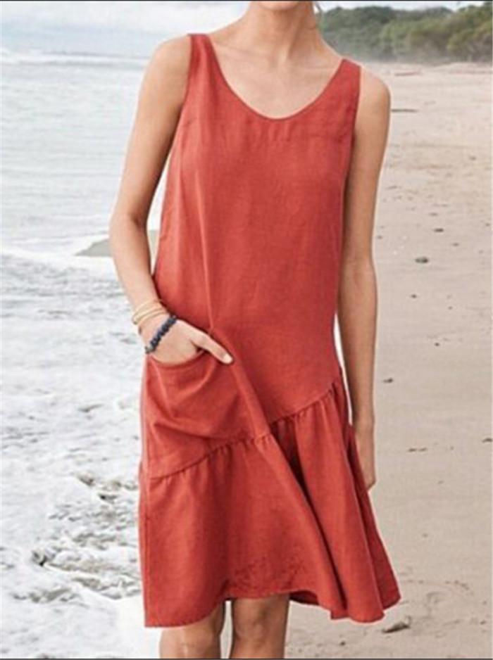 Linen Vintage Plus Size Solid Color Pocket Dresses