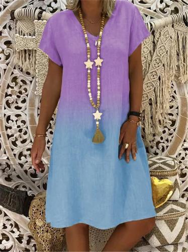 S-5XL Plus Size Dress Summer Women Vintage Gradient Short Sleeve Midi Dress Retro Printed Loose Beach Casual Dresses