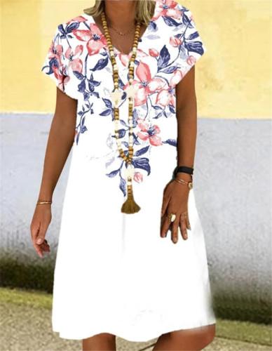 V-Neck Dress Women Short Sleeve Loose Clothing Fashion Floral Printed 2021 Summer Beach Sundress