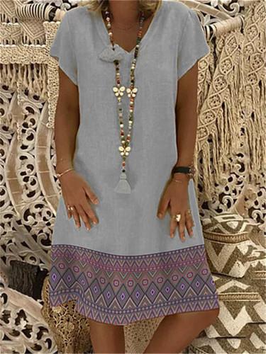 Linen V-neck Short Sleeve Dress Elegant Plus Size Patchwork Casual Dresses