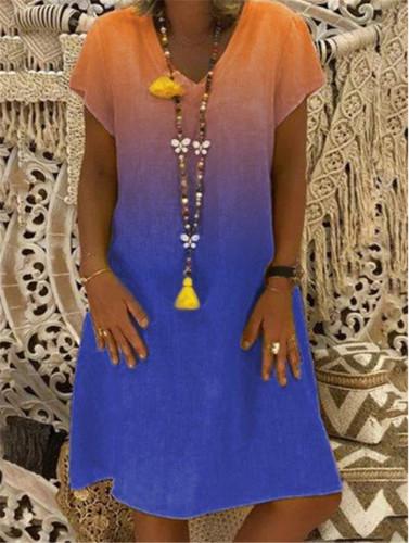 S-5XL Plus Size Dress Summer Gradient fashion print short sleeve V-neck Linen Dress