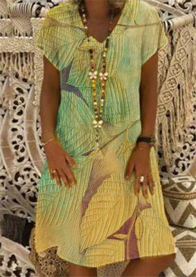 Women Vintage Casual Dress Summer Floral Print V-neck Short Sleeve Dress Woman Party Plus Size Dresses