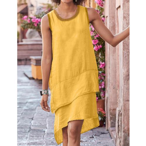Linen Casual Dresses Sleeveless Round Neck Stitched Cotton Hemp multi Layer Hem Vest Dress