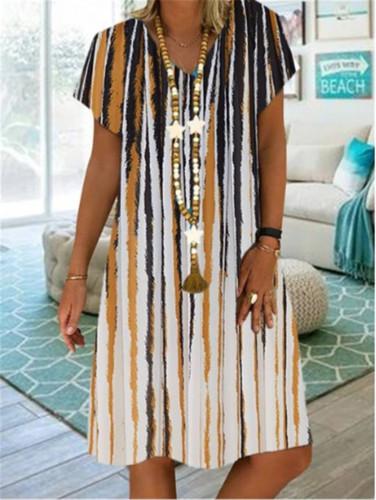 Women Summer Dress Fashion Short Sleeve V-neck Casual Dress Loose  Knee-length Dress