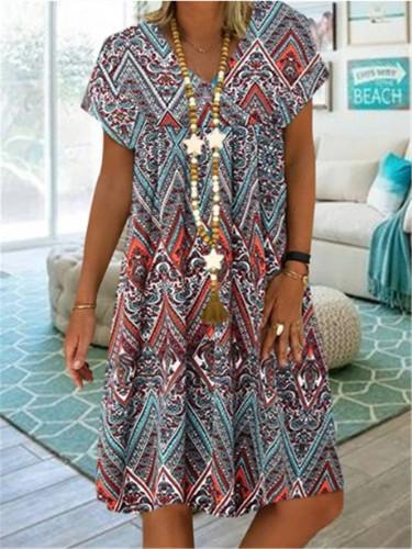 Cotton Linen Vintage Floral Plus Size Women Casual Loose Midi Summer Dress
