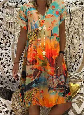 Loose Spring Vintage Ruffles Linen Dress Large Big Printed Sexy Summer Boho Casual  Dresses