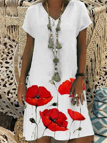 Women plus size dress Summer Vintage Loose Dress V-neck Print Short Sleeve Knee Linen Summer Dress