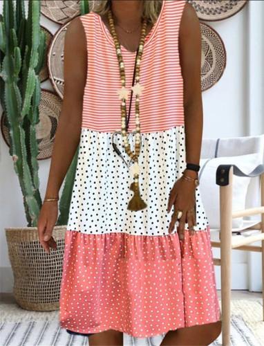 Plus Size Cotton Linen Sleeveless V-neck Casual Dress