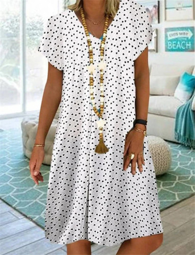 Plus Size Point Print Dress Cotton and Linen Ladies V-Neck Beach Dress Sundress