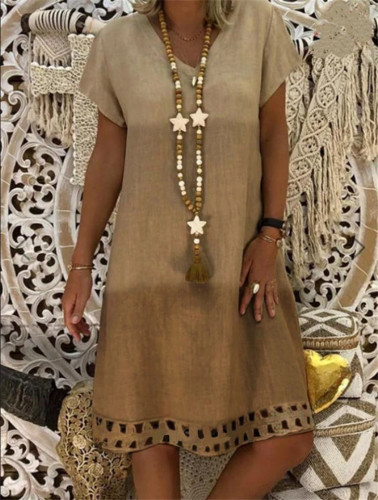 Women Cotton Linen Dress Plus Size Short Sleeves V-neck Casual Short Dress Casual Beach Oversized Dresses
