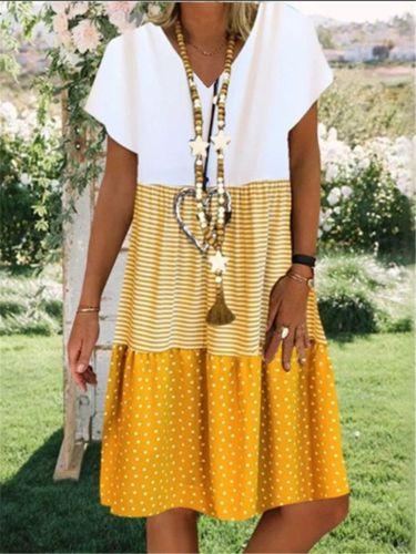 Women Summer Dress Loose Stripe Dot V-Neck Short Sleeves Casual Plus size Dress bohemian Sundress Party Dresses